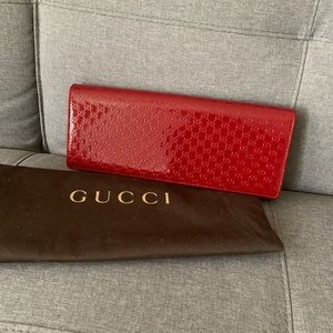 Authentic Gucci Red Patented Leather Clutch